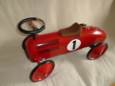 RETRO STYLE CHILDS RED METAL RIDE ON PUSH SPORTS CAR NUMBER 1