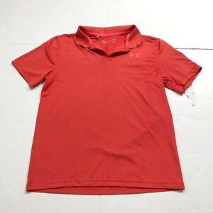 Under Armour Boys Youth Performance Polo Shirt Red HeatGear 1350176-001 Sz XL