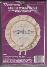 Vogart Crafts 2015C Smile Candlewicking Kit Embroidery Hoop  Ribbon Ruffle NIP