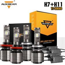 AUXBEAM CREE LED Headlight Bulb Kit Canbus 70W 8000LM H7 H11 High Low Beam Combo