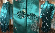 VTG CHINESE FLORAL BROCADE JACQUARD TEAL GREEN SILK ROBE KIMONO DRESSING GOWN 38