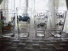 4 ANTIQUE CARS BEVERAGE GLASSES, BUICK, FORD, CADILLAC,BUGGIES MAN CAVE DECOR