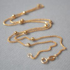 AU750 Pure 18k Yellow Gold 2.8mm W Bead Wheat Link Chain Necklace/ 2.5g / 16inch