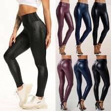 Mujeres PU Leggins Cuero Brillante Pantalón Elásticos Pantalones para Mujer MLF