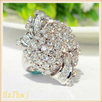 Women Fashion Rings Flower Jewelry Simulated Silver Luxury Color Zircon Diamond