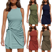 Women's Sleeveless Ruched Tie Waist Mini Short Dress Summer Casual T Shirt Dress