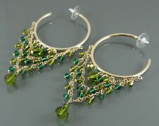 LONG TASSELLED GOLD HOOP EARRINGS WITH FACETED GREEN CRYSTALS BY MIKEY LONDON