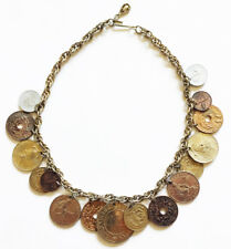 Vintage CORO World COINS CHARM NECKLACE Mid-Century 1960's