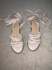 New Ladies Lace Up Sandals - Nude - UK3