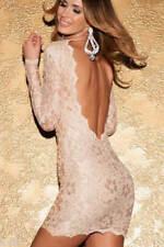 Women's Sexy Scalloped Deep V Backless Lace Bodycon Mini Dress