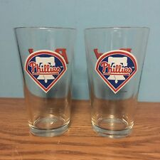 (2) Philadelphia Phillies MLBP 2000 - 16 oz BUD Pint Glasses - Excellent
