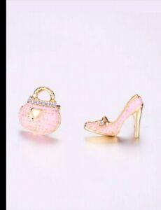 High Heels Stilettos Pocketbook Purse Pink Assymetrical Earrings Studs