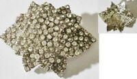 broche bijou vintage couleur argent déco fleur toute de cristaux diamant * 3993