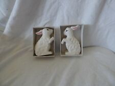 Wood Composite Rabbits Vintage Set Of Two Handpainted
