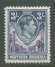 NORTHERN RHODESIA  1938    KGVI     MVLH    3/- violet & blue    SG42    Cat £29