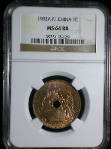 French Indo-China 1902 Cent *NGC MS-64 RB* Viet Nam Cambodia Laos Rare This Nice