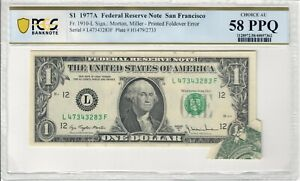 1977A Federal Reserve $1 Note Printed Error Foldover - Overprint  58PPQ CO626F