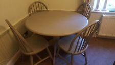 Solid pine round table and 4 chairs.  Annie Sloan French Linen.