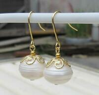 Charming 11-12 MM AAA +++PERFECT SOUTH SEA WHITE PEARL EARRINGS 14K
