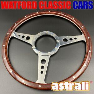 "Astrali® Classic Car Wood Rim 14"" steering wheel compatible with moto-lita boss"