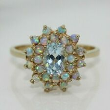 9ct Yellow Gold Topaz and Opal Cluster Ring (Size N 1/2)