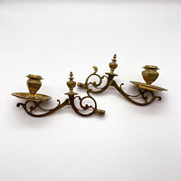 2 Antique Piano Candlestick, Piano Candle Holder Brass Art Nouveau Um 1900#