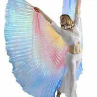 Danzcue Yellow-Red-Blue Gradient Neon Belly Dance Worship Angel Wings With Stick