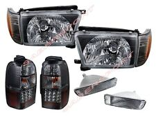 Black Headlights + Clear Bumper + LED Taillights Combo for 96-98 Toyota 4Runner