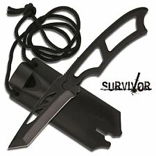 6 3/4 Tactical Fixed Blade Boot/Neck Knife  Hard Sheath w/Emergency Whistle
