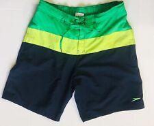SPEEDO Board Shorts Swim Trunks Size Medium Green Black Yellow Jamaican Flag