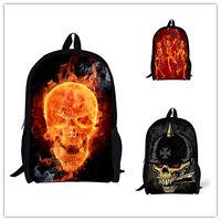 17 inch Cool Skull backpack boys girls school bags teenager bookbag rucksack new