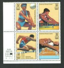 1996 ATLANTA Olympic US Postage Block 32 Cent Stamps Rowing Volleyball Hurdles