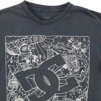 Distressed DC Skateboard T Shirt Mens MEDIUM Nicely Faded Black Worn-Thin Grunge