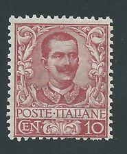 """1901 Regno d'Italia """"FLOREALE 10 cent CARMINIO"""" MNH NUOVO LUSSO** Firm. DIENA"""