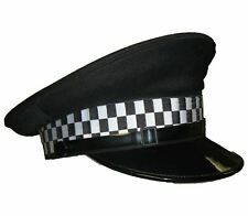 More details for used black flat peaked cap with checkered tape fancy dress theatre film and tv