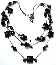 collier bijou rétro de 3 rangs de perles carrés noir à facettes 227