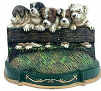 Vintage Cast Iron Doorstop: Puppies On a Fence