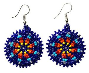 NATIVE STYLE HANDCRAFTED ROUND DARK BLUE HOOK DROP/DANGLE EARRINGS USA 60/55