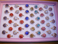 Joblot of 50pcs Diamante Fashion Rings - NEW Wholesale