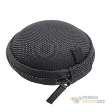 Zip Round Storage Bag Hard Case Pouch For Headphone Earphone Earbud TF SD Card