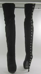 """new ladies Black 6""""Heel Back Spike Over Knee Sexy Boot Round Toe women Size 9"""