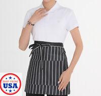 Unisex Waitress Waiter Waist Bib Apron 2 Pocket Home Utopia Kitchen Party Chef