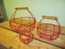Drahtkorb / Drahtkörbchen rund 3er Set Farbe rot Haus und Garten,Pflanzkorb