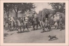 CIRCUS PARADING INTO TOWN, Clowns, Elephants, A B Frost, Antique Print 1904