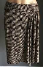 Great Condition SPORTSGIRL Brown White Stretch Knee Length Drape Skirt Size M/12