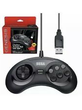 Retro-Bit Official USB Controller 6-Button for Sega Genesis Mini PC/Mac - Black