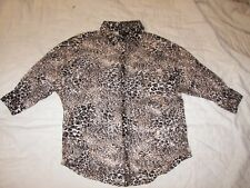 Self Esteem Stretch Sheer Animal Print Shirt - S