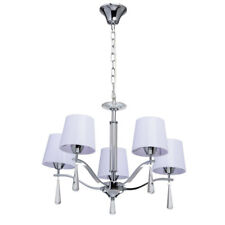 Lampadario moderno pendente 5 bracci di metallo colore cromo e lilla cristallo