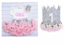 Baby girl 1st birthday tutu outfit cake smash handmade pink and grey with crown