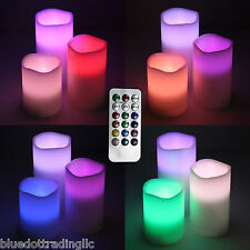 3 Pcs Flameless Color Changing Wax Led Pillar Candle Remote Control 4/8 hr Timer